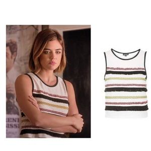 Topshop striped cropped top with fringe